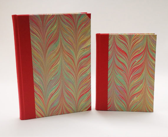 Vibrant Feather Notebook, Notebook, handmade, ireland, hand marbled paper