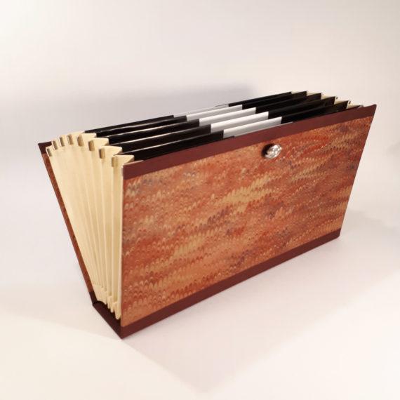 concertina file, concertina folder, organiser folder, organiser file, marbled paper, hand marbled paper, handmade, irish, irish craft, irish made, ireland, stationery, luxurystationery, A5, document folder
