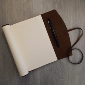 A5 Soft Leather Wrap Journal Action Shot
