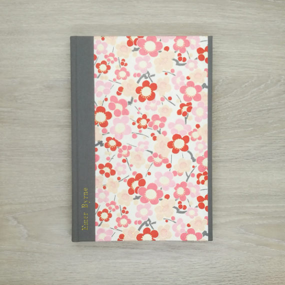 Pink Petals Notebook, japanese paper, chiyogami paper, notebook, handmade, gold foil, gold foil embossing, embossed