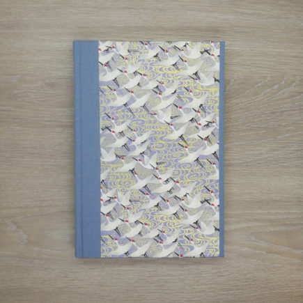 cranes in flight notebook, japanese paper, chiyogami paper, notebook, handmade