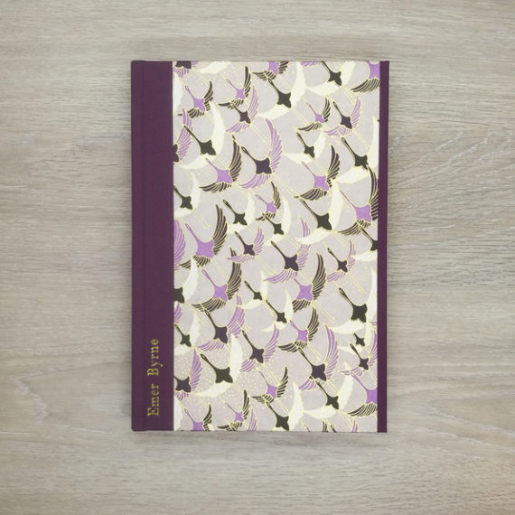 Ducks in flight notebook, japanese paper, chiyogami paper, notebook, handmade, gold foil, gold foil embossing, embossed