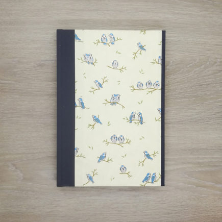 Little Blue Birds Notebook, japanese paper, chiyogami paper, notebook, handmade