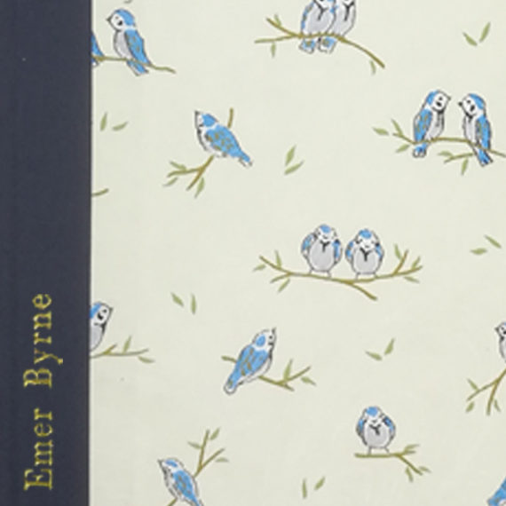Little Blue Birds Notebook, japanese paper, chiyogami paper, notebook, handmade, gold foil, gold foil embossing, embossed