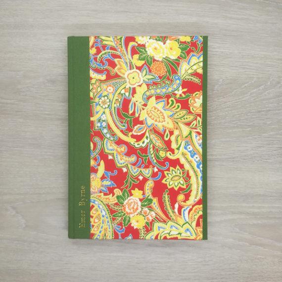 red dragon flower notebook, japanese paper, chiyogami paper, notebook, handmade, gold foil, gold foil embossing, embossed