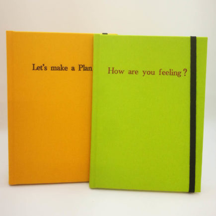 Personalised Linen Notebook, linen, handmade, notebook, handmade notebook, hubert
