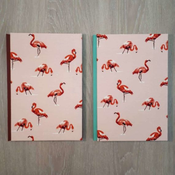 notebook, handmade notebook, flamingo, flamingo notebook, hubert, irish, irish craft, irishmade,