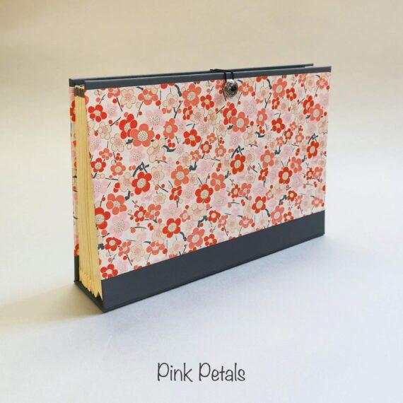 Pink Petals Concertina File, Handmade by Hubert Bookbindery, Cork City, Ireland