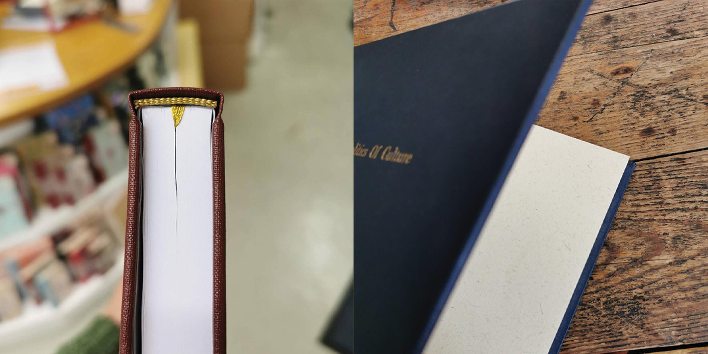 Add a luxury finish to your thesis with Headbands, ribbon page marker and textured endpapers. Handmade in Hubert Bookbindery Cork