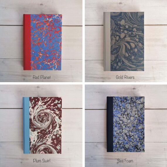 Handmade Notebook, marble notebook, hand marbled notebook