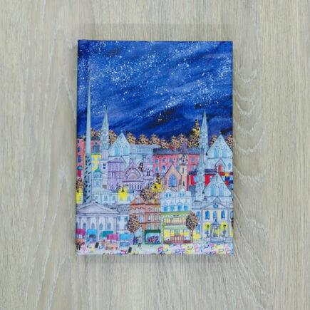 Under the stars, Dublin city. illustration by Pear Shaped Studio, handmade by Hubert bookbindery
